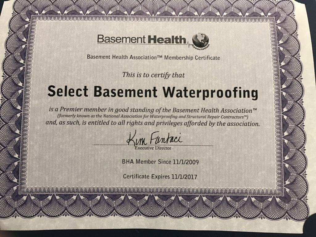 basement health association certified select basement 1024x768 About Us Select Basement Waterproofing