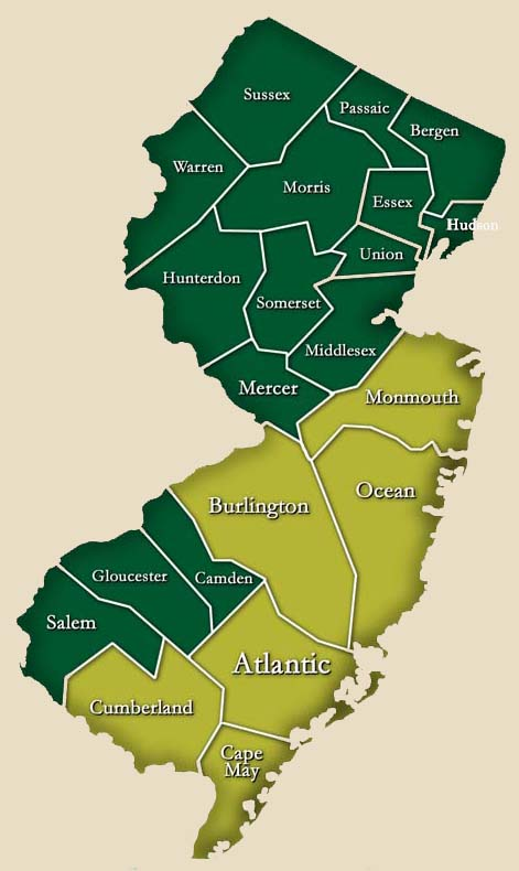 nj map Service Areas Select Basement Waterproofing